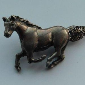 Vintage Sterling Running Horse Pendant Charm